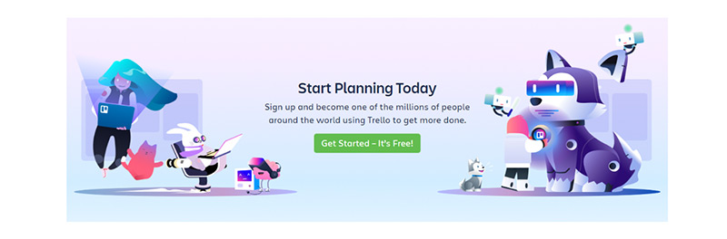 An example from Trello of their homepage call to action that says 'Get Started - It's Free!'
