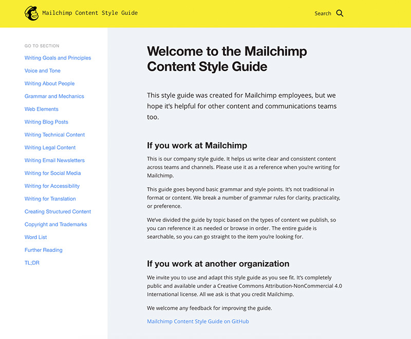 The Mailchimp content style guide homepage.