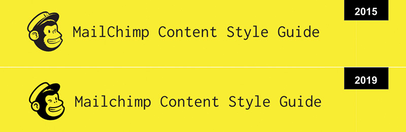 The 2015 and 2019 Mailchimp Content Style Guide header or comparison.
