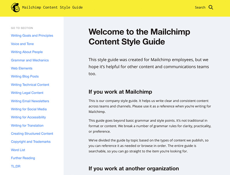 The Macilchimp content style guide homepage.