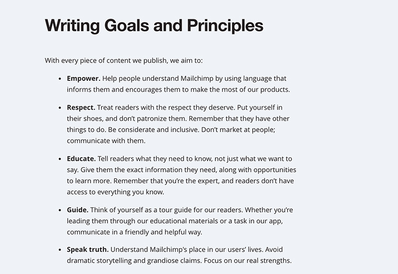 The writing goals and principles from the Mailchimp content style guide.