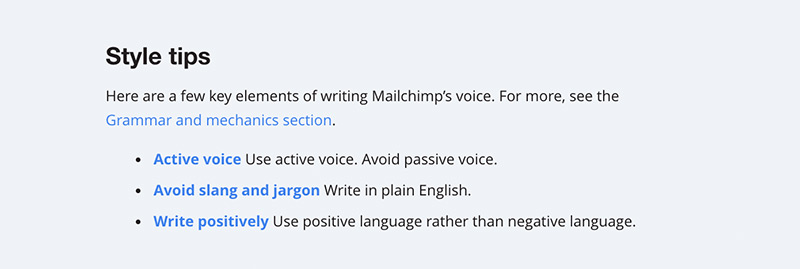 An example of the style tips in the Mailchimp style guide. Includes active voice and avoiding slang and jargon.