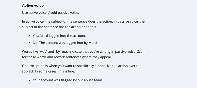The active voice section of the Mailchimp style guide.