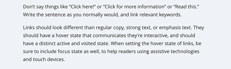 Rules from the Mailchimp style guide about not saying click here for link text and call to actions.