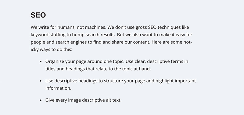 The SEO section of the Mailchimp style guide.