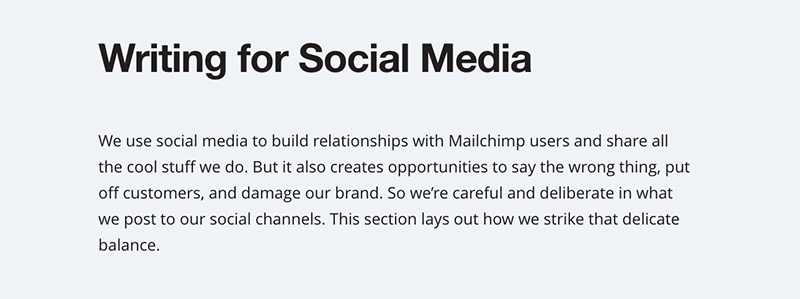 The rules in the Mailchimp style guide for writing for social media.