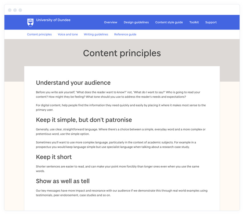 The content principles section of the University of Dundee's online content style guide.