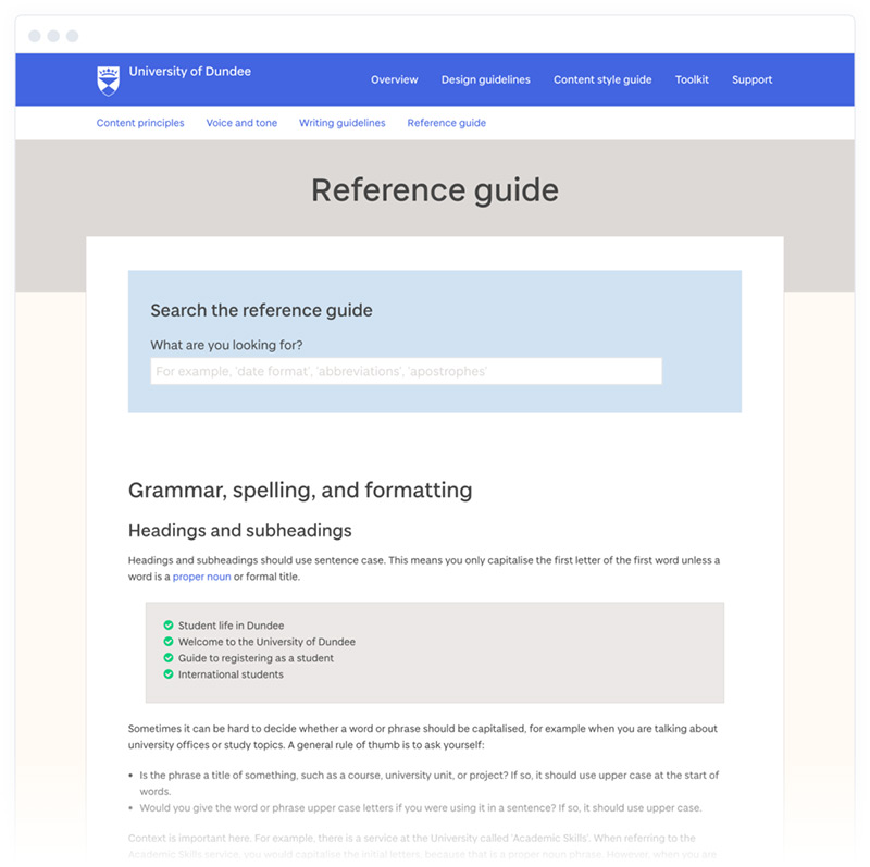 The reference guide of the University of Dundee's online content style guide.