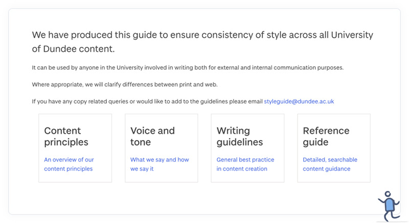 The introduction of the University of Dundee's online content style guide.