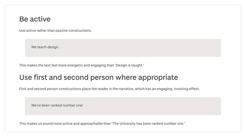 Rules in the University of Dundee's online content style guide. Includes be active and use first and second person.
