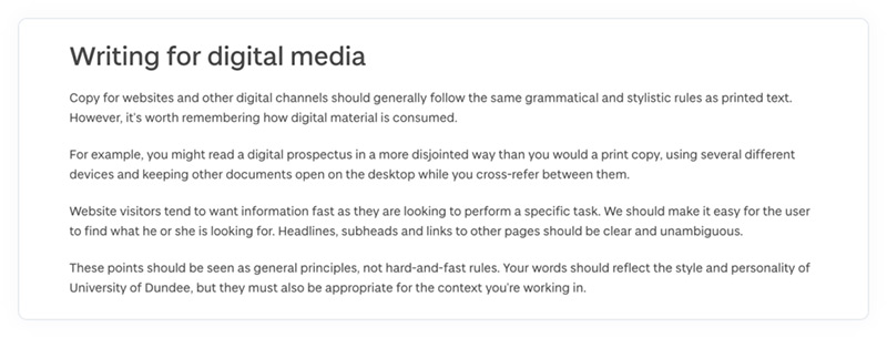 The rules for writing for digital media in the University of Dundee's online content style guide.