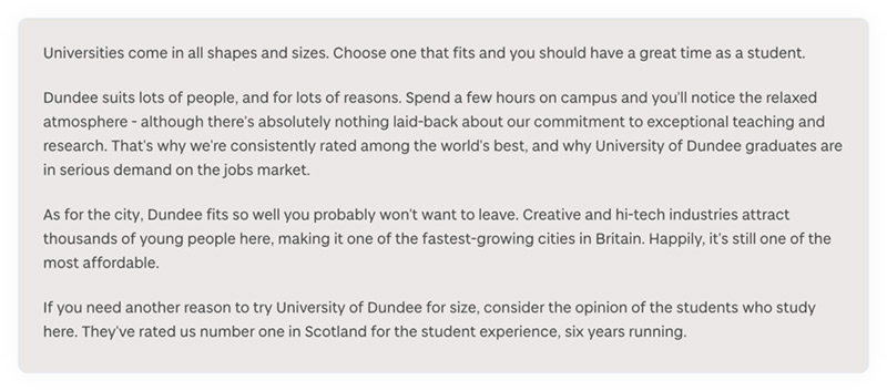 An example of content about how to write about the university, from the University of Dundee's online content style guide.