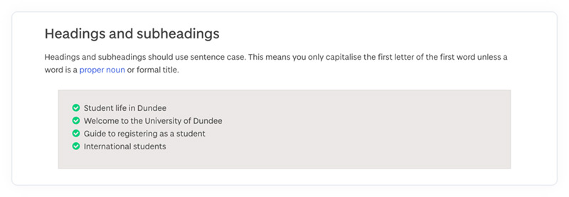 The headings and subheadings section of the University of Dundee's online content style guide.