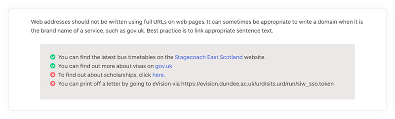 The web address formatting section of the University of Dundee's online content style guide.