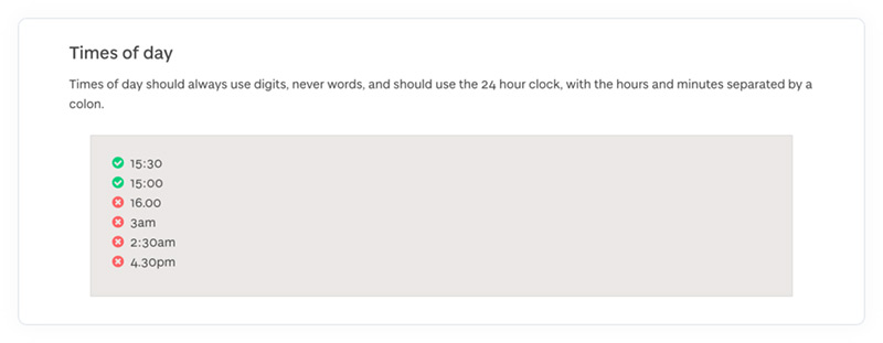 A section of the University of Dundee's online content style guide showing how to format times of day.