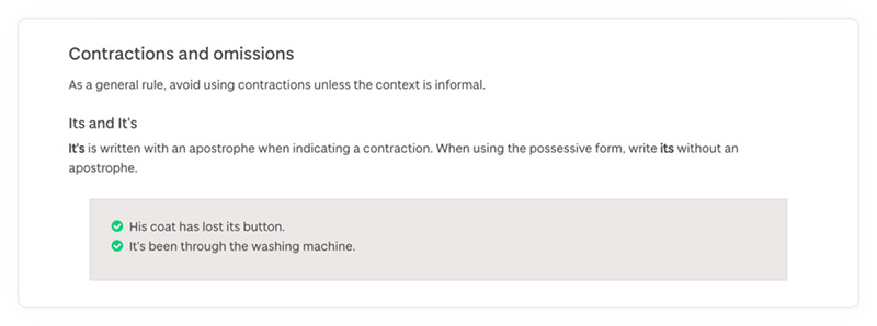 A section of the University of Dundee's online content style guide about contractions and omissions.