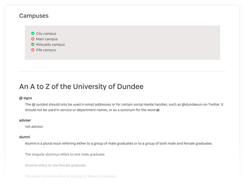 A section of the University of Dundee's online content style guide with rules for how to write campus names.