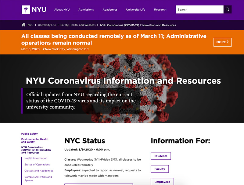 The NYU website for the COVID19 content updates.