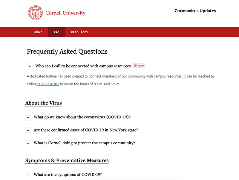 The Cornell University website showing their FAQ page about the coronavirus.