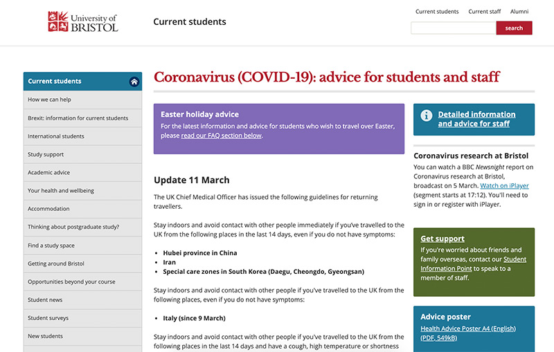 The University of Bristol coronavirus website page with advice for students and staff.