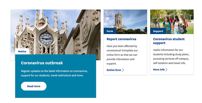 The University of Auckland website showing the three calls to action they have for their coronavirus content.