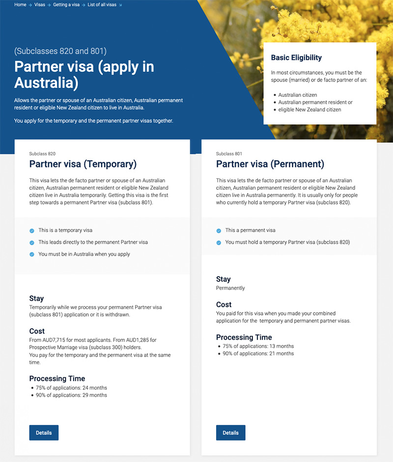 Screenshot of web page comparing two different kinds of partner visa.