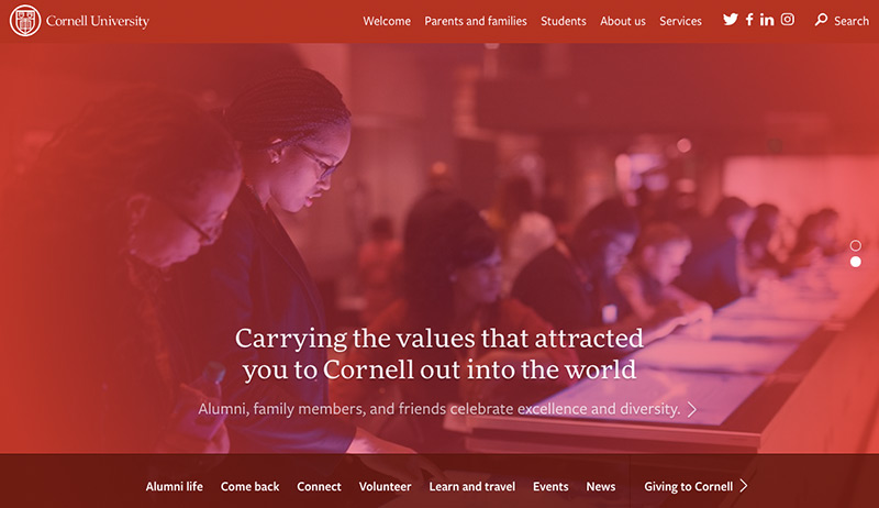 The Cornell University website homepage.