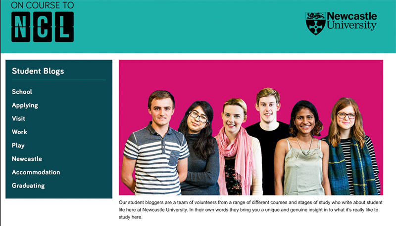 Student blog page on the Newcastle University website.