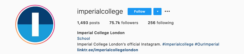 Instagram profile for Imperial College London.