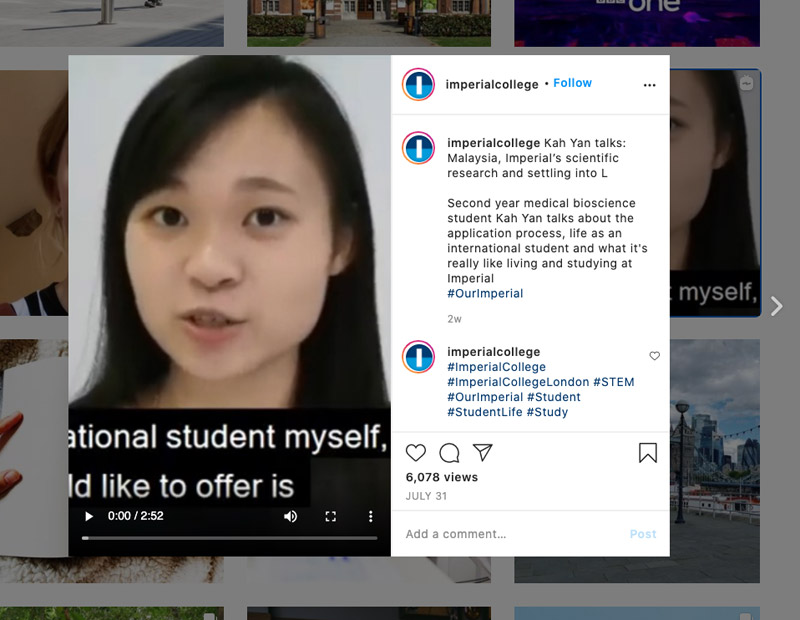 Example of an Instagram post from Imperial College London. The post is a video from an international student talking about scientific research.