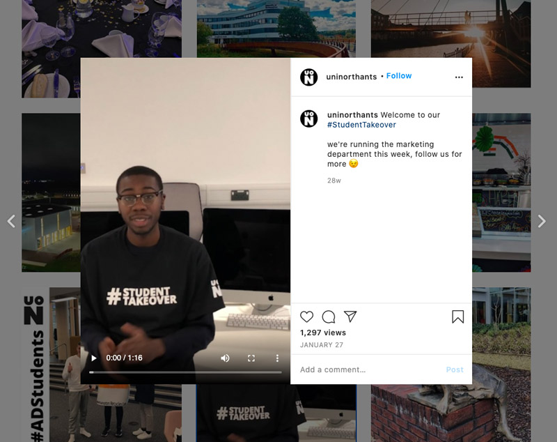 An Instagram post from the University of Northampton which shows a video of a student as part pf the student takeover project at the marketing department.