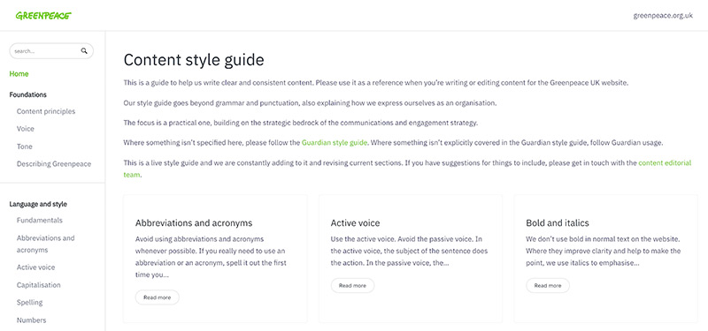 The homepage of the Greenpeace UK online content style guide.