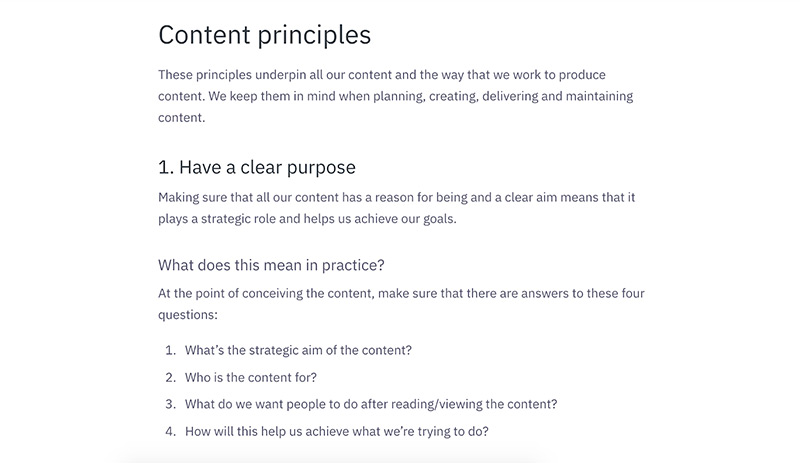 Greenpeace UK content principles as per their style guide. Image shows one example: Have a clear purpose.