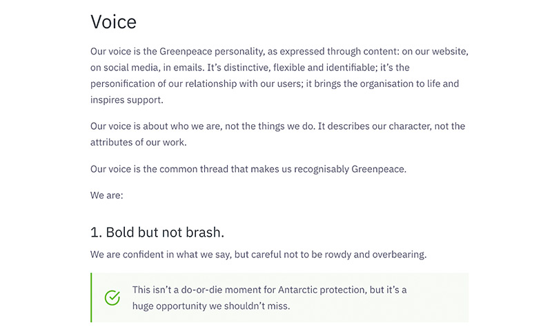 A sample of the voice rules in the Greenpeace UK content style guide. This one says: Bold but not brash.