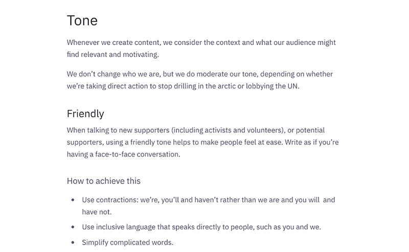 The tone section from the Greenpeace UK content style guide stating they are 'friendly.'
