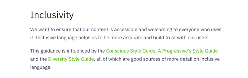 An excerpt from the Greenpeace UK content style guide showing their stance on inclusivity.
