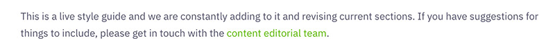 An excerpt from the Greenpeace UK content style guide stating how users can suggest updates to the guide.