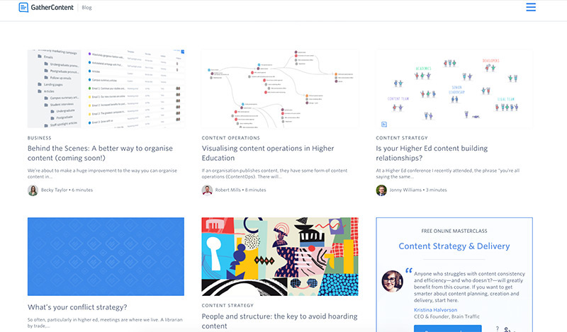 The GatherContent blog in April 2019 with different styles of thumbnail images for a selection of articles.