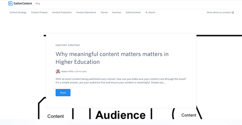 Homepage of the GatherContent blog in April 2019 with the article header image behind the snippet. Visually it looks messy as the image is mainly white.
