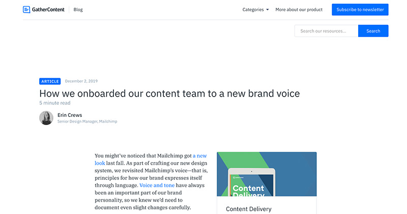 An article on the GatherContent blog in December 2019. It shows the title, author and body copy with no header image.