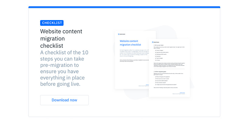 A full width advert at the bottom of an article on the GatherContent blog. This one promotes a checklist and has a description and image of the checklist with a call to action to download.