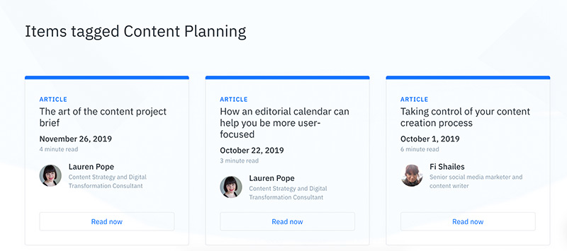 A tagging results page on the GatherContent blog which shows three most recent articles assigned with the tag, 'content planning'.