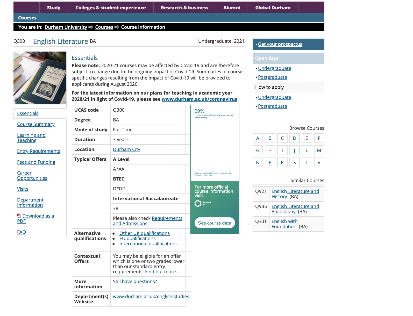Example of a course description page from the Durham University website.