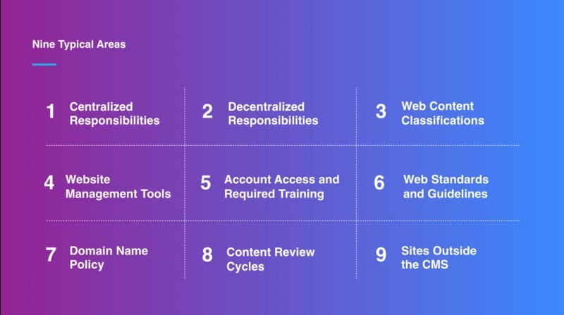 mStoner's nine typical areas for web governance. These are listed in text below.