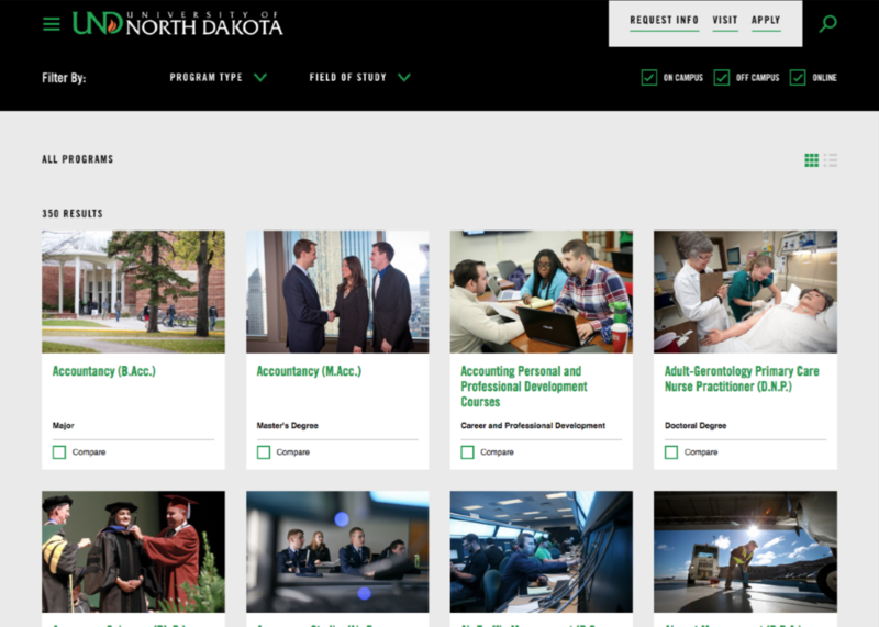 University of North Dakota interactive program finder, with filters for program type and field of study. Images for each program and the option to compare programs