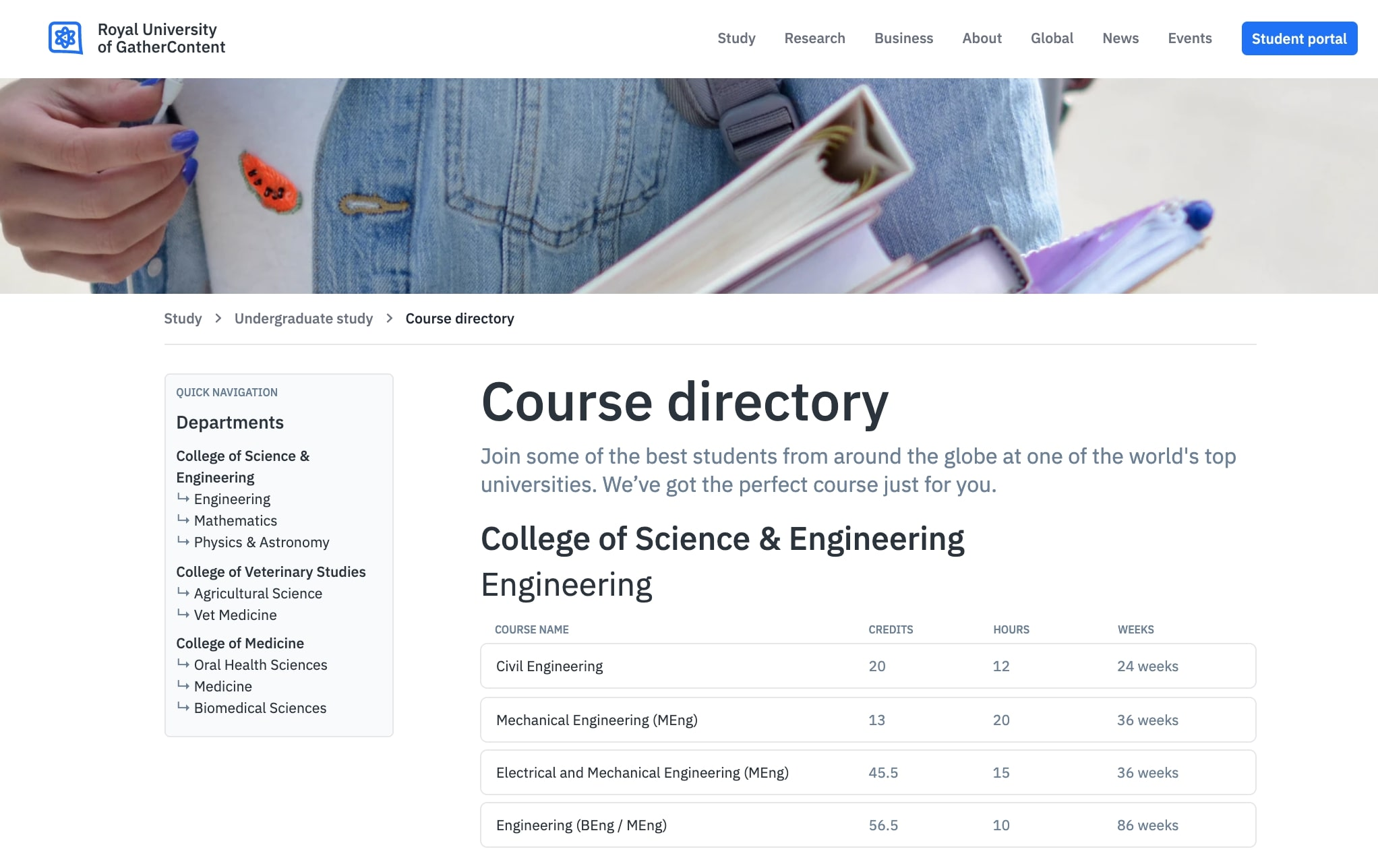 A screenshot of an example university website homepage built on top of GatherContent.