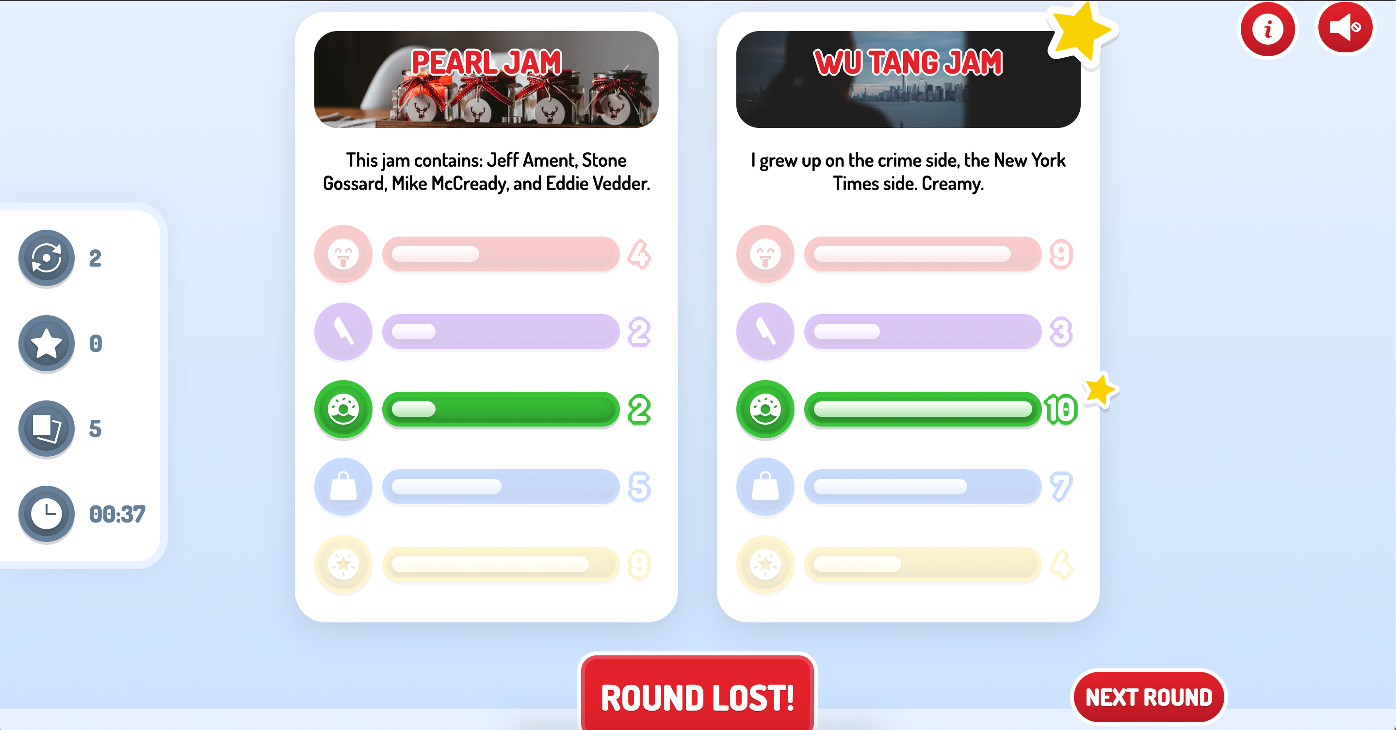 The round results UI of tje Jam Slam game showing which Top Trumps card won.
