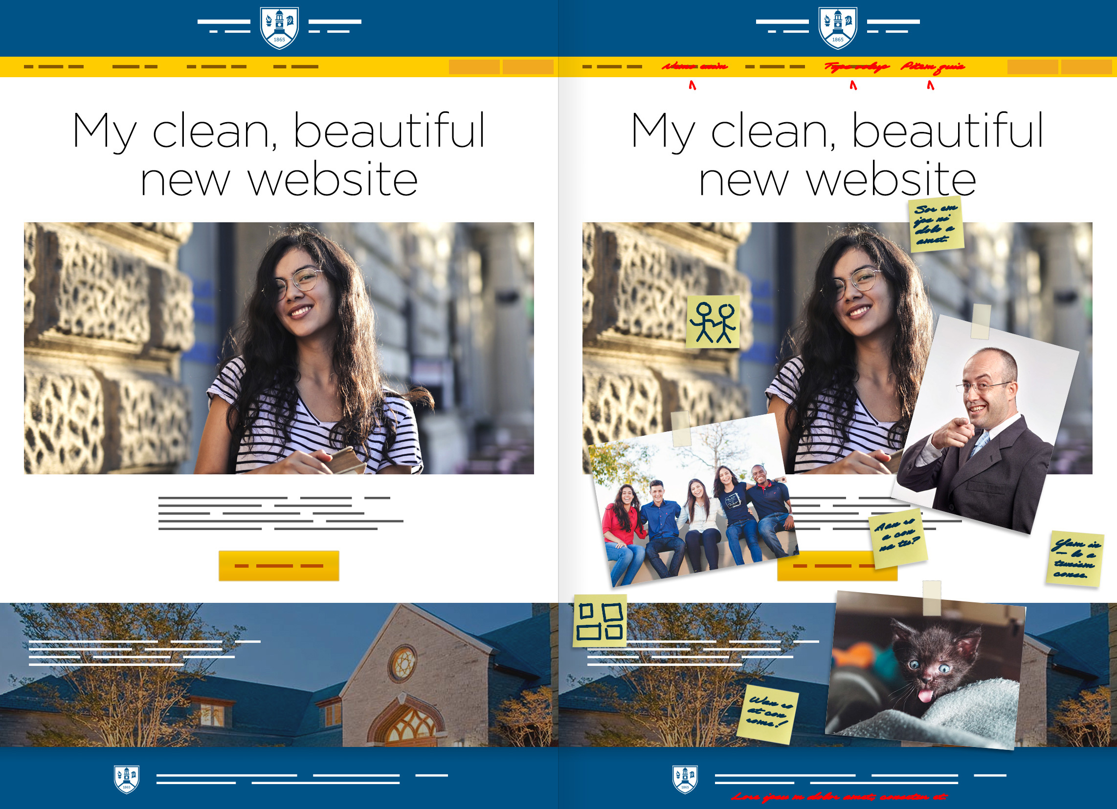 An example of a university website redesign showing a before and after mock-up of the homepage.