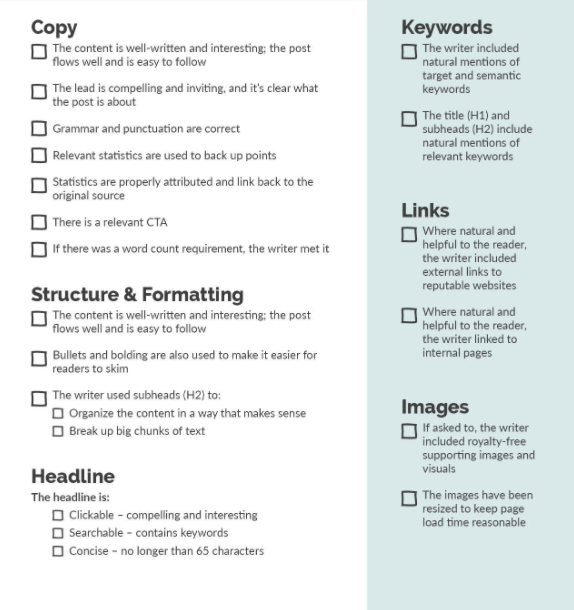 An example of a content quality checklist from Vertical Meaures.
