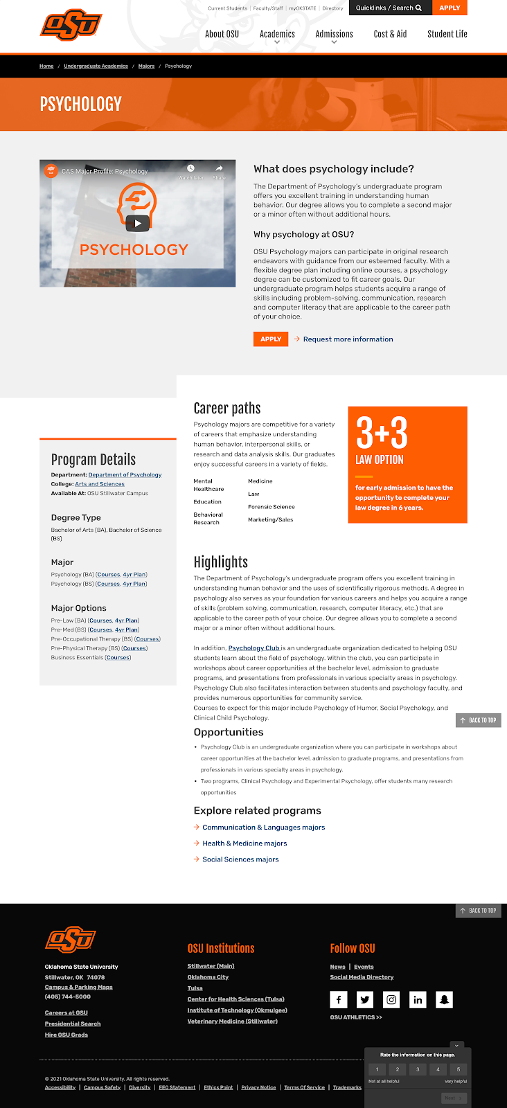 The psychology undergraduate program page from the Oklahoma State University website.